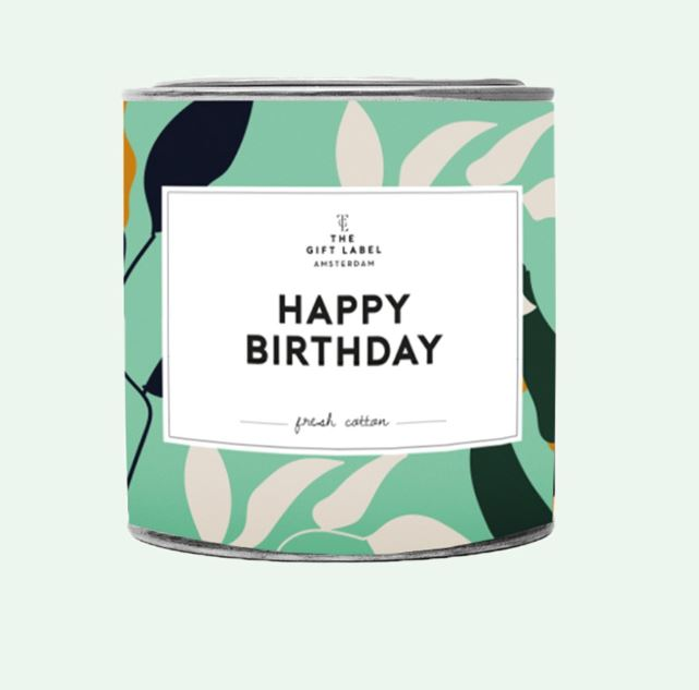 Big candle tin - happy birthday - jasmine vanilla